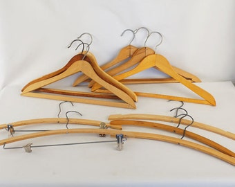 Vintage Collection 11 Wood Clothes Hangers