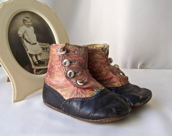 Vintage Baby Shoes Leather Button Up High Top Shoes Photo Prop Baby Shower Decor 1920s