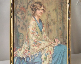 Vintage Alice Blue Gown Lithograph Art Deco Frame 1930s