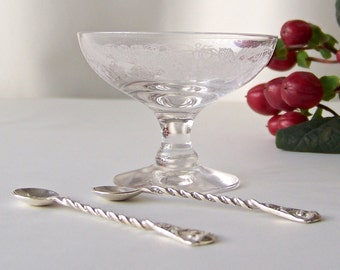 Antique Sterling Salt Spoons Antique Etched Glass Salt Dip Champagne Glass Salt Cellar  circa 1900
