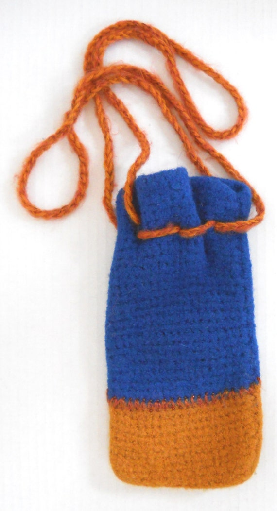 Royal Blue / Gold Hand Knit & Felted Drawstring Pouch With French Bead Detail — Yarn Origin: Peru