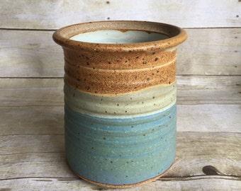 Vintage Modern Planter - Blue - Pottery - Handmade -