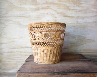 Deep Wicker Basket Open Weave Waste Basket