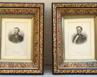 Antique Victorian Militaria Civil War General Grant Sherman Engravings in Spatter Paint Frames