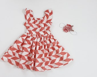 Chevron Peasant Dress with Flutter Sleeves and Headband Set -Size 12/24m RTS