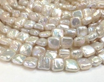 A Grade High luster White 6 x 10 mm Freshwater Pearl Square Beads - Bridal Pearl - Full Strand (ET7806W55-BHM8)