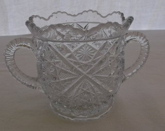 Vintage Spooner, Clear Pressed Glass with Scalloped Edges, Glass Serving or Vase
