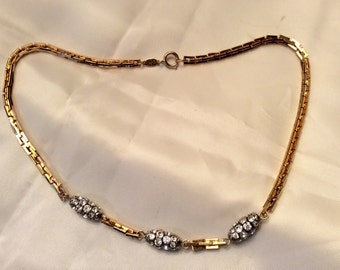 Reserved Christian Dior Gold Tone and Rhinestone Necklace