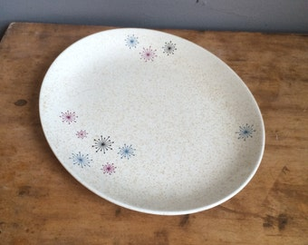 "Vintage W. S. George Celeste Oval Serving Plate 11 1/2"" Mid Century Atomic Starburst Design Space Age CD0825"