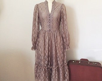 Vintage Lace Dress, Taupe Boho Victorian Tea Dress, Mid Length Ruffled 1970's Dress, Small S
