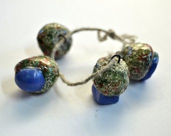 The clear body of spring -- a set of 4 handmade ceramic art beads