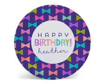 Personalized Melamine Plate-Happy Bow Multi Happy Birthday