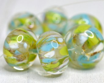 lampwork beads... SRA handmade, encased classic frits (desert spring) set  (of 6 beads) for making jewelry 82615-7