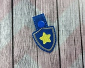 Star Badge Snap Tabs for Sports Bags and Luggage, Key Chains, Zipper Pulls, Chase inspired, police badge inspired