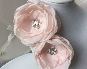 SALE Pink Fabric Flower Brooch or Sash Pin