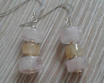Rose Quartz and Citrine Sterling Silver earrings UK made