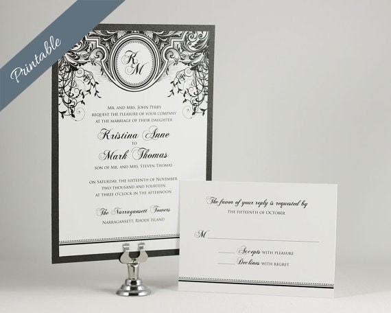 Black and White Wedding Invitations Monogram Wedding Invitations Printables