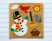 Sandylion Snowman Winter Animals Kromekote Stickers