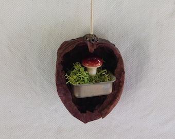 walnut ornament. mushroom in a paint tin.  original ornament.
