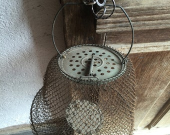 Fishermans net, vintage fishkeeper, french bourriche, fishing net france, vintage candleholder, antique lighting
