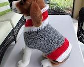 Dog Sweater Sock Monkey 15 inches long Merino Wool