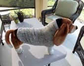 Dog Sweater Hand Knit Oatmeal Large 16 inches long