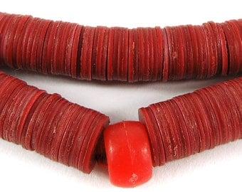 "Vulcanite ""Vinyl"" Heishi Trade Beads Red New Africa 100025 SALE WAS 19"