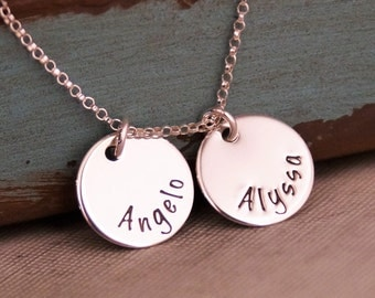 Personalized Mommy Necklace / Hand Stamped Jewelry / Sterling Silver Mommy Jewelry / Mini Name Tag Duet