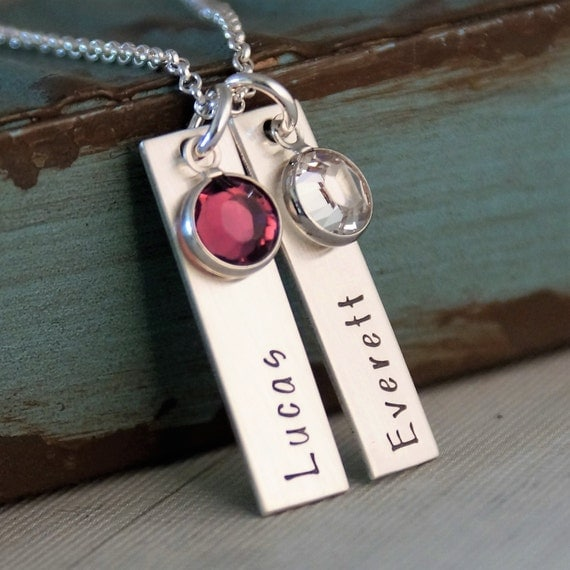 Two vertical tags with birthstone / Mommy Necklace / Bar Necklace / Personalized Hand Stamped Jewelry
