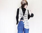 Vintage Long Knit Boho Vest - 70s Hippie Open Crochet - Hippie Clothing