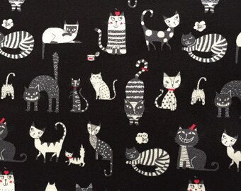 Japanese cotton fabric cat printed Half yard black colour