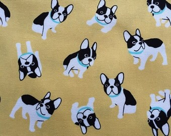 French bulldog printed cute light yellow colour fabric one yard