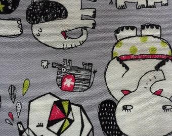Japanese cotton fabric Elephant printed Half yard gray colour
