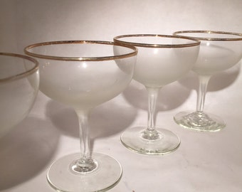 7 Gold Rimmed Frosted Champagne Coupes