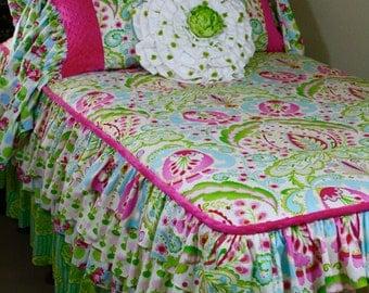 Journey  Floral Ruffled Tweener Bedding in Twin