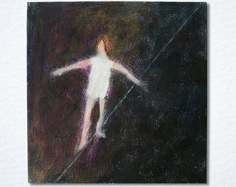Original acrylic painting, circus painting, tight-rope walker, 'A Long Way Down', gallery wrap canvas, sale