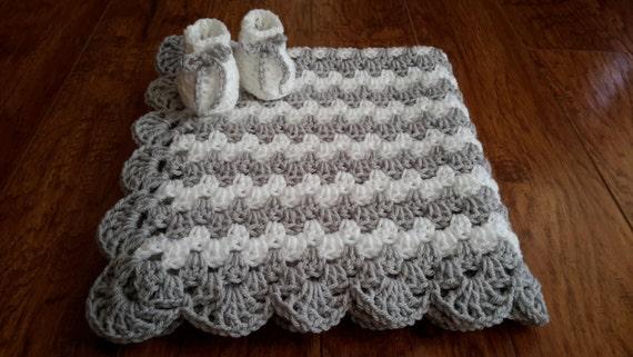 gender neutral baby blanket gray nursery grey crochet