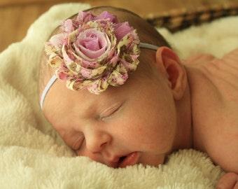 Vintage Inspired Shabby Chic Lavender Floral Headband-Photo Prop-Stretch Headband