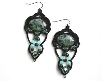 Black Chandelier Blue Green Glass Beaded Tatted Lace Fiber Earring