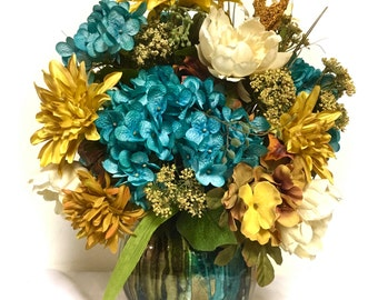 NEW for FALL Silk Floral Arrangement Floral Centerpiece Turquoise Blue Rust Cream Turquoise & Browns Hydrangea Dahlia Peony