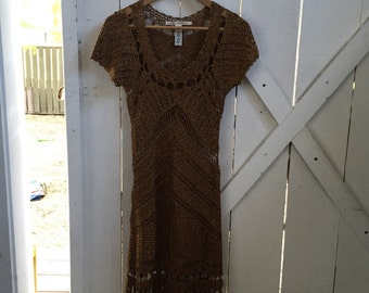Crazy beautiful vintage Diane von Furstenberg intricate gold silk crochet dress xs/s