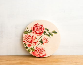 Paint by Number, Circle Art Block - 'Pink Roses', vintage floral art, vintage roses, wall decor flowers, wall art, girls room, ready to hang