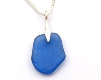 Rare Cornflower Blue Sea Glass Necklace - TILLY