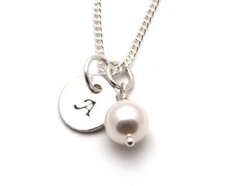 Personalized Necklace White Swarovski Crystal Pearl and Handstamped Sterling Silver Disc
