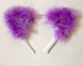 Fuzzy Cat Ears with Tinsel in Light Purple