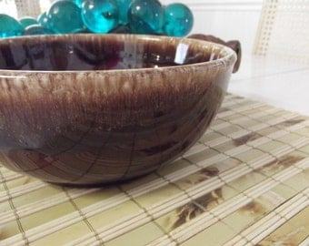 LARGE Brown Drip Glazed Bowl - Made in USA - Vintage mixing bowl - similar to HULL