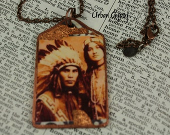 Indian Couple From The Atakara Tribe Tag Necklace Handmade Urban Gypsy Copper Pendant Leaf Necklace