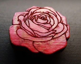 Red Rose Wooden Hat Pin