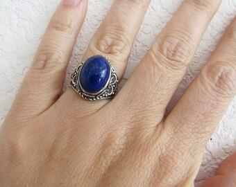 Boho Lapis sterling silver Ring, Tribal Lazuli sterling ring, size 5.5