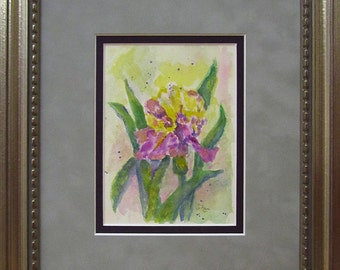 Iris Watercolor Painting...Small Frame Art...Original Painting...Floral Art...Frame Watercolor
